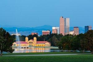 Boathouse and skyline Denver
