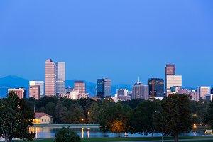 Dawn skyline of Denver Colorado