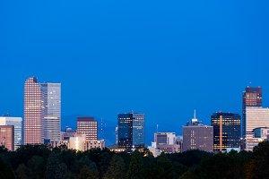 Cityscape of Denver Colorado at dawn