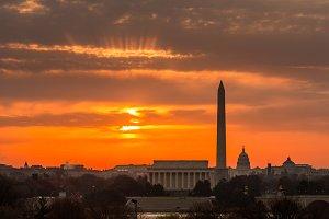 Brilliant sunrise over Washington DC