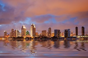 San Diego with digital reflection