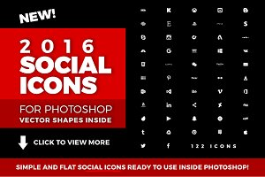Social Media Icons 2016 Photoshop