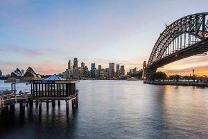 Sydney Australia as sunset