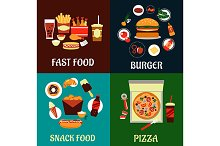 Fast food and takeaway flat icons