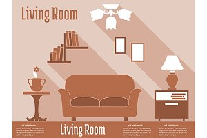 Living room interior design in flat