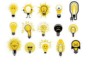 Cartoon light bulbs icons and object