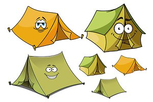 Cartoon green and yellow tents chara
