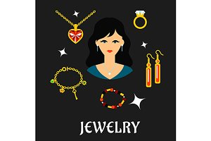 Woman with jewels and gold in flat s