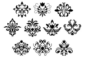 Black damask flower blossoms and pat