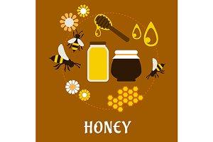 Beekeeping and fresh Honey flat conc