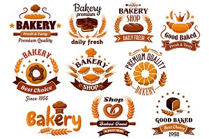 Bakery and pastry symbols or icons