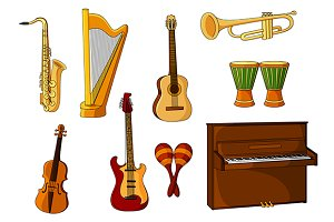 Large set of various musical instrum