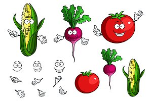 Fresh healthy happy cartoon vegetabl