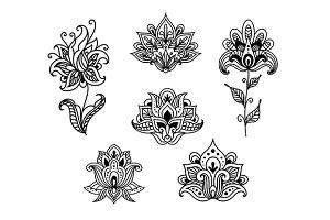 Outline floral paisley design elemen