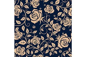 Medieval seamless pattern with roses