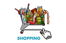 Full shopping cart with food and dri