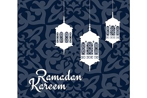 Ramadan Kareem greeting card with ar