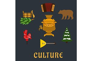 Russian culture flat icons set