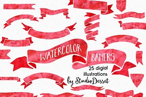Red Watercolor Banners