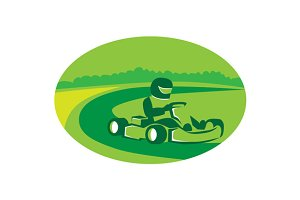 Go Kart Racing Oval Retro