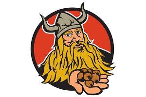 Viking Handing Hazelnut Circle Retro