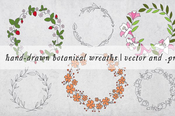 Hand Drawn Botanical Wreaths Pre Designed Illustrator Graphics Creative Market