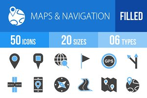 50 Maps Blue & Black Icons