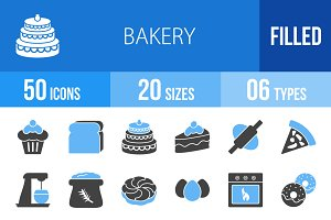 50 Bakery Blue & Black Icons