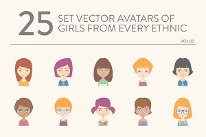 25 vector avatars of girls vol.02