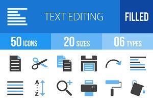 50 Text Editing Blue & Black Icons