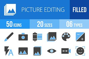50 Picture Editing Blue Black Icons