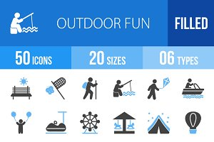 50 Outdoor Fun Blue & Black Icons