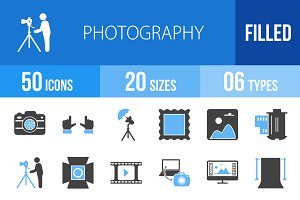 50 Photography Blue & Black Icons