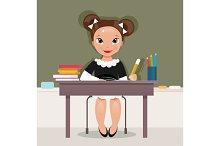 Schoolgirl at the desk