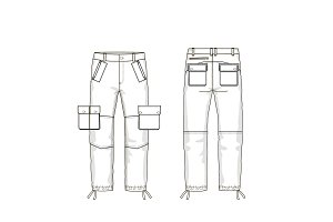 Military Pants Fashion Flat Template