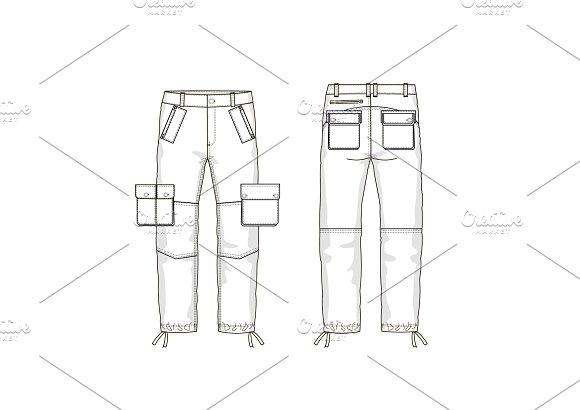 military pants fashion flat template templates creative market