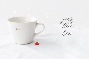 Love mug and tea bag red heart photo