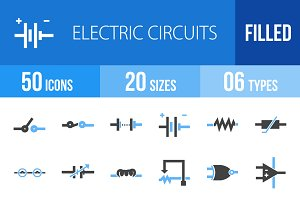50 Electric Circuit Blue Black Icons