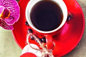 Coffee and Orchid flower