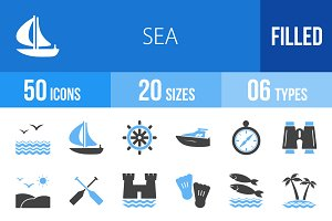 50 Sea Blue & Black Icons