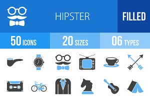 50 Hipster Blue & Black Icons