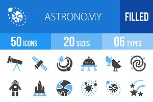 50 Astronomy Blue & Black Icons