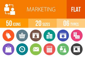 50 Marketing Flat Round Icons