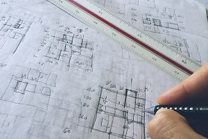 Architect drawing a sketch