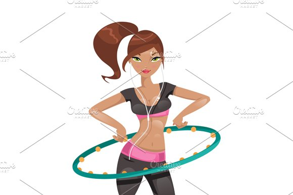 The girl trains. Vector Illustration - Illustrations