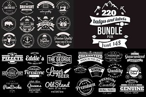 220 Retro Badges and Labels Bundle