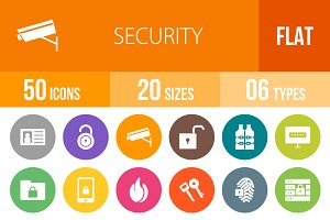 50 Security Flat Round Icons