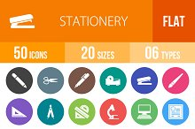 50 Stationery Flat Round Icons