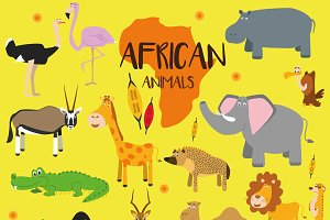 21x African animals Set