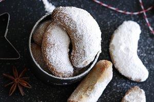Crescent cookies. Vanillekipferl